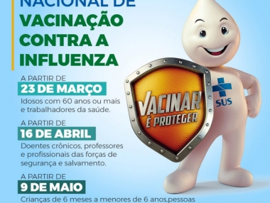 Secretaria de Saúde inicia nesta quarta (25) vacinação da Influenza pelo drive thru
