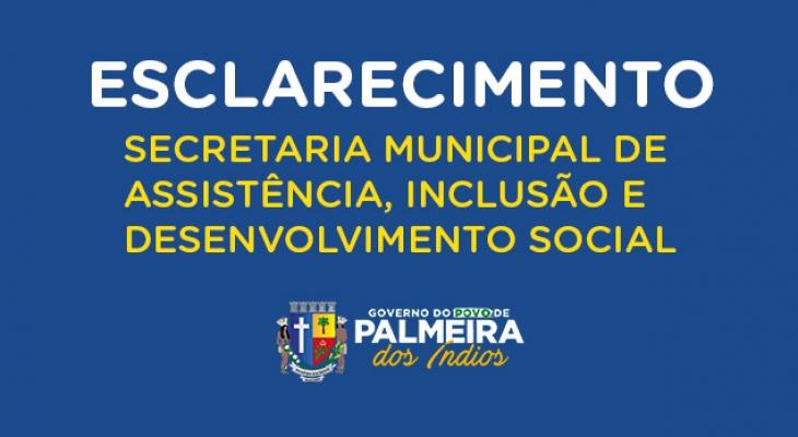 Nota de esclarecimento da Secretaria Municipal de Assistência Social