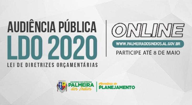 Prefeitura de Palmeira dos Índios realiza Audiência Pública on-line para discutir LDO 2020