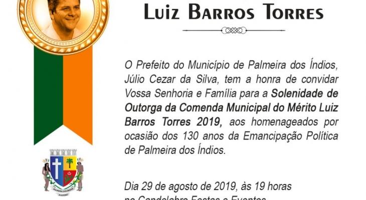 Prefeitura de Palmeira entregará Comenda do Mérito Luiz Barros Torres nesta quinta (29)