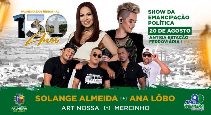 Solange Almeida será a atração do show de 130 anos de Emancipação Política de Palmeira