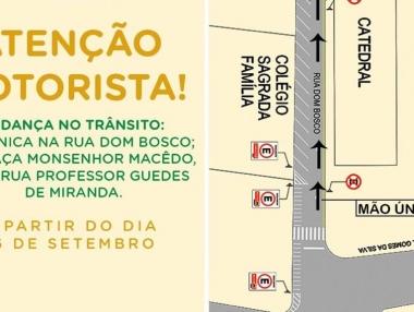 SMTT mudará trânsito a partir de segunda (16), no Centro de Palmeira
